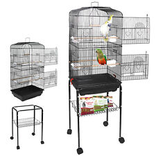 59'' Rolling Bird Cage Parakeet Finch Budgie Conure with Stand Lovebird House