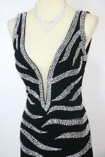 NEW $700 Jovani Black Rhinestone Dress Long Prom Formal High Slit Size 4 Evening