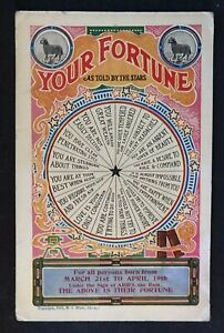 "1908 Postcard ""Your Fortune ""  ARIES~March 2 To April 19 Astrology-unused-h601"
