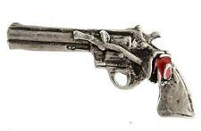 "(#234) PISTOL & ROSE Pewter Vest / Hat Pin 1.5"" x 0.75"" Biker Hat Vest Gun"