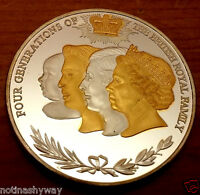 4 Generations British Royal Family Gold & Silver Coin Queen Elizabeth II London