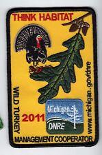 2011 MICHIGAN DNR SUCCESSFUL TURKEY HUNTER PATCH -BEAR-TURKEY-ELK-MOOSE-FISHING