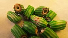 Venetian Antique Glass Chevron Green Melon Beads 8mm X 12mm average Pinched
