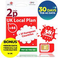 GIBRALTAR 30Days 7GB DATA Gibtelecom Prepaid Travel Data SIM CARD HOTSPOT 3G 4G
