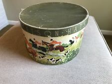 Stetson Oval Vintage Hat Box only - Hunt Scene