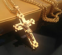 18K Gold Plated Iced Out Sweater Cuban Chain JESUS CROSS Pendant Necklace