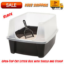 Open-Top Cat Litter Box with Shield and Scoop, Black, Easy Cleaning Pet Supplies
