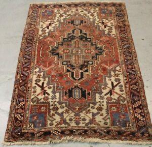 Old Handmade traditional Parsian Heriz Wool Rug 211cm x 135cm
