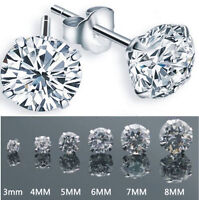 Women Men Crystal Silver Plated Cubic Zirconia CZ Round Stud Earrings 3MM-8MM