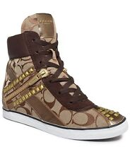 NEW COACH SZ 8.5 DIDI WEDGE SNEAKERS KHAKI/CHESTNUT  A4259