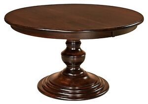 """Amish Round Pedestal Dining Table Modern Traditional Solid Wood 48"""", 54"""", 60"""""""