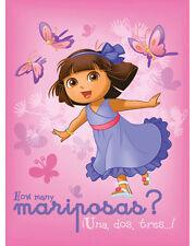 "Blanket Fleece 45""x60"" Dora The Explorer Butterfly Flower Pink Throw Blanket NEW"