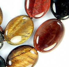 """12x16mm Colorful Tiger Eye Flat Oval Beads 15"""""""