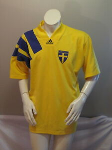 Team Sweden Soccer Jersey - 1991 Home Jersey by Adidas - Men's Large