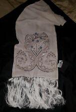 GAI MATTIOLO sciarpa scarf Pashmina 100% SETA silk cm170 x 32 inserti corallo