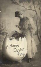 Easter - Woman & Giant Egg & Rabbit c1905 Real Photo Postcard
