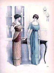 Edwardian Fashion Art Print A4 home decor two ladies wearing top fashion