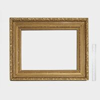 Antique Victorian Wood Picture Frame - Gold With Floral Composition Ornament