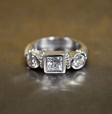 *Judith Ripka Sterling Silver 3 Stone CZ Size 6 Ring Authentic Princess Cut