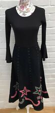 Black Cord Corduroy Skirt Size 8 Flare Midi Floral Winter Flippy