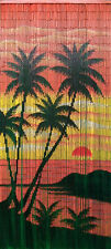Bamboo Bead Curtain Room Divider Tropical Palm Trees Wall Hanging Doorway Panel