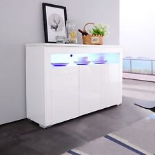 High Gloss White Sideboard Cabinet Cupboard Display Buffet with RGB LED Light