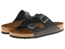 Zapatos para Hombre Birkenstock Arizona Plantilla Suave 0552331 Sandalias De Diapositivas De Cuero Negro