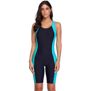 Pro Sports One Piece Boyleg Knee-length Sport Swimsuit Beach Wear Suit Swimwear