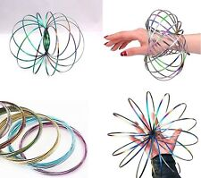 3D Magic Flow Ring Toys Funny Kinetic Spring Arm Slinky Juggle Rainbow Dance Uk