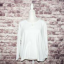 Eskandar Women's One Size Long Sleeve Henley Neck Boxy Blouse White Cotton