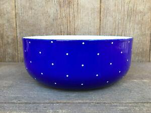 Vintage Enamel Ware Bowl Blue White Square Polka Dots Mid-Century Modern
