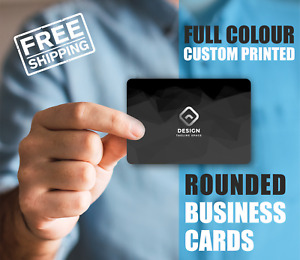 Rounded Personalised business cards, thank you cards, printed glossy or silk