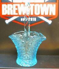 "Vintage Aqua Glass Daisy Button Design Basket 8"" Tall (Z15)"