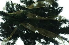 "Christmas Xmas Green Gold Glitter Ribbon Tree Decoration Garland 2.5"" 100 ft New"