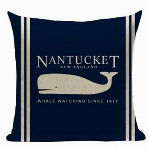 Nautical Cushion Cover, Nantucket whale, canvas, seaside, beachhouse, Cape Cod