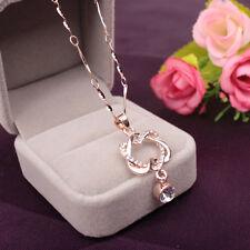 Damen Halskette Herz Anhänger Rose Gold Herzkette Heart Schmuck Kette Collier
