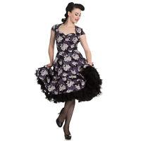 Hell Bunny Ilsa Grey Purple Floral Lace Vintage Retro 1950s Rockabilly Dress