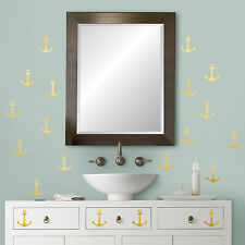 GOLD ANCHORS FOIL WALL DECALS 24 Nautical Peel and Stick Stickers Pirate Decor