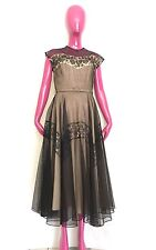 Vintage 50s Black Chantilly lace cupcake ballgown illusion wedding bridal dress