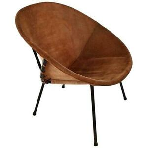 Vintage Balloon Suede Easy Chair, 1960s, Hungary