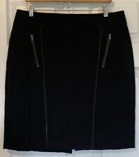 Ann Taylor Faux Leather Trim Cotton Rayon Blend Pencil Skirt Size 14