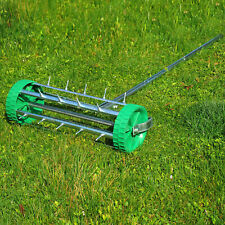 UK! Heavy Duty Rolling Grass Lawn Garden Aerator Roller Green Wheel