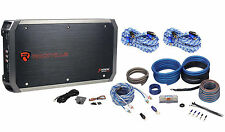 Rockville RXH-F5 1600W RMS 5 Channel Car Amplifier + Amp Kit+ 2 Free RCA Cables