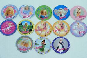 Lot de 13 POGS BARBIE 1995 Mattel Avimage Caps/Tazo/Paddles/ Comic Shell...