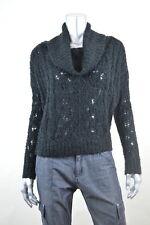 SANCTUARY Black Cowl-Neck Open Stitch Crop Pullover Sweater MSRP $99 S