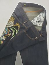 ED HARDY Jeans Mens 44 x 34 Skull Snake Eagle Crystal's NEW relaxed fit