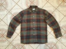 VTG 1950'S RAYON PENNYS TOWN SHIRT SHADOW PLAID CHEVELLA ROCKABILLY A 14 14 1/2