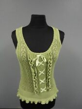 NANETTE LEPORE Olive Green Cotton Sleeveless Crochet Knit Top Size M EE8832