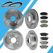 Front+Rear Drilled Slotted Brake Rotors And Ceramic Pads For 94-01 Acura Integra