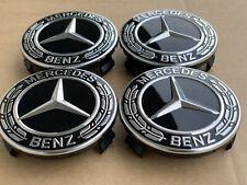 Original Mercedes Benz Rad Naben Kappen Deckel Embleme Stern Schwarz Wheels Cap